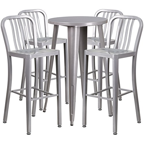 Brimmes 5-pcs Table Set Round 24'' Silver w/4 Vertical Slat Back Stools by iHome Studio