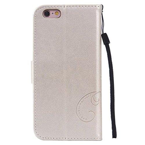 Papillon Fleurs Embossed Retro premium PU Housse en cuir flip magnétique Support Cover Wallet Case Avec poignet main pour iPhone 5 5s SE ( Color : Gold , Size : IPhone 5S SE )