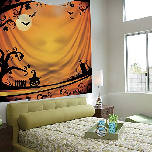 AngelSept Popular Flexible Hot Tapestries Privacy Decoration,Vintage Halloween,Halloween Themed Image Eerie Atmosphere Gravestone Evil Pumpkin Moon Decorative,Orange Black -