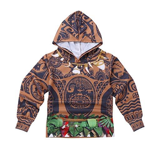 iiniim Kids Boys Maui Halloween Costumes Cosplay Outfit Long Sleeve Zip-up Hoodie Jacket Coat Brown 8-10 ()