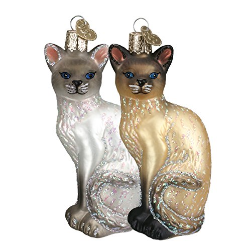 Old World Christmas Blown Glass Hanging Ornament - Siamese Cats, Set of 2