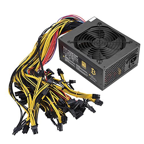 fosa 2000W 160-240V Miner Power Supply, 95% High Efficiency Fan PSU Power Supplies with 12 6+2P PCI-E, 7 4P D Large Interfaces, 9 SATA, 1 20+4P(24P), 1 4+4P CPU Connectors for 8 GPU Mining