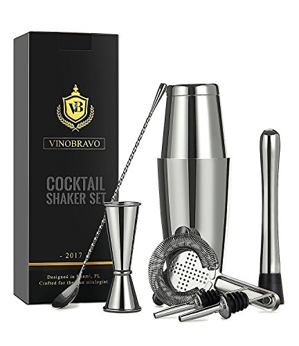 Bar Cocktail Shaker Set - Boston Cocktail Shaker Bar Set By VinoBravo: 18oz & 28oz Weighted Shaker Tins, Hawthorne Cocktail Strainer, Double Jigger, 12'' Mixing Spoon, 7'' Drink Muddler and Recipes (Silver)