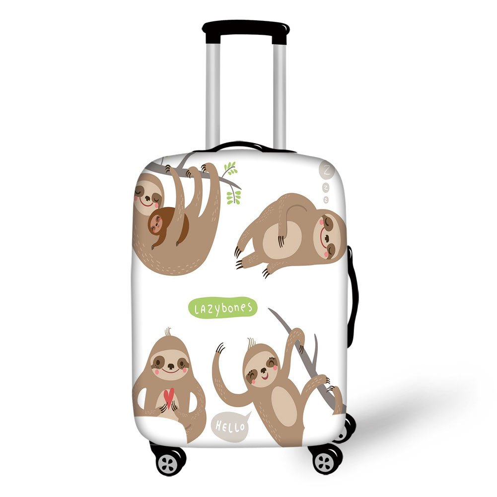 Travel Luggage Cover Suitcase Protector,Sloth,Childish Collection of Funny Cute Lazy Sloths Hugging Family Romance Love Decorative,Light Brown Grey Green,for Travel