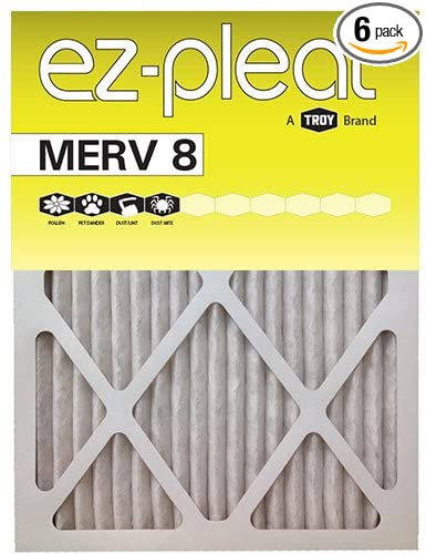 24x24x1 ez-pleat merv 8 air filters (6-pack) - replacement furnace ...