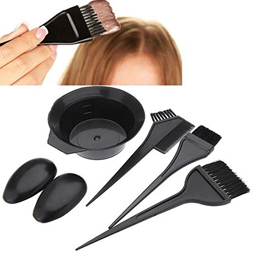 Dye Set (AKOAK 5 Pcs/Set Black Hair Dye Set Kit Hairdressing Brushes Bowl Combo Salon Hair Color Dye Tint DIY Tool Set Kit)