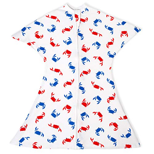 SleepingBaby Nautical Zipadee-Zip Swaddle Transition Baby Swaddle Blanket with Zipper, Comforting Cozy Baby Swaddle Wrap and Baby Sleep Sack (Small 4-8 Months | 12-19 lbs, 25-29 inches | Lil Crabby)
