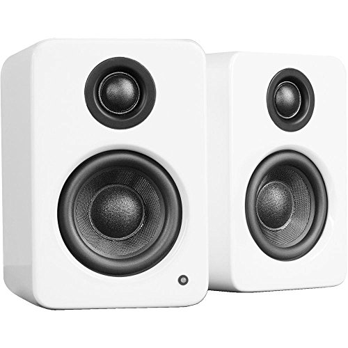 Kanto YU2 2x 25W RMS Powered Desktop Speakers, Pair, Gloss White Ice - With S2 Desktop Speaker Stands, Pair, (4x10' 2 Way Speakers)