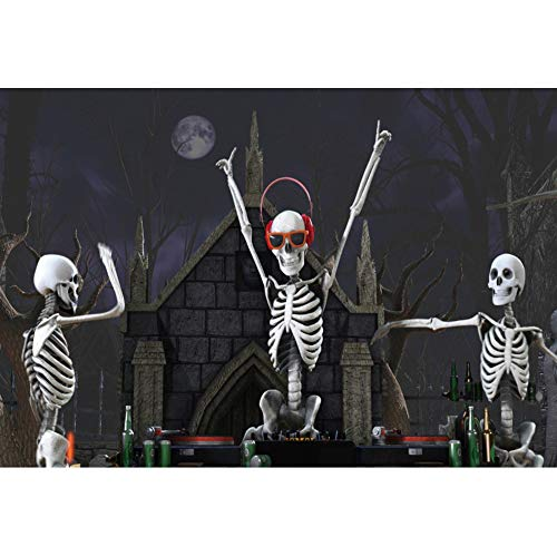 Halloween Horror Nights 22 Music (OERJU 7x5ft Happy Halloween Photography Background Skeletons Party Celebration Playing Music in Grave Yard Scary Dark Night Died Trees Halloween Backdrop Horror Party Decoration Banner Photo)