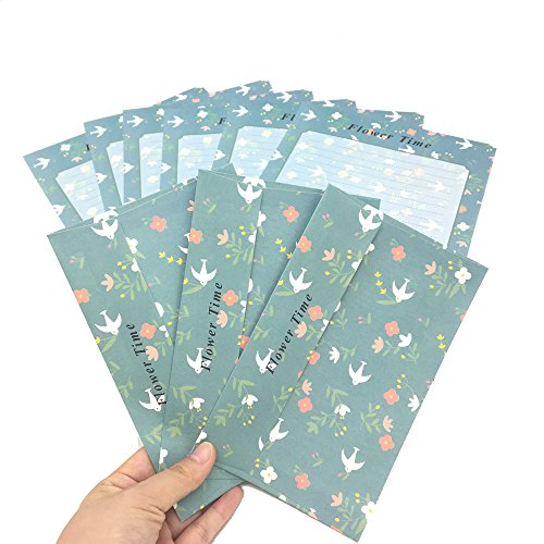 HUELE 30PCS Cute Kawaii Lovely Colorful Design Writing Stationery Paper Letter Set with 15 Envelope (Young Swallow Style)