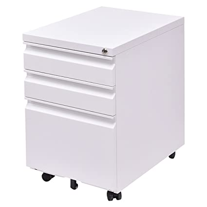 Charmant Giantex 3 Drawers Rolling Mobile File Pedestal Storage Cabinet Steel Home  Office (White)