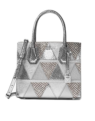 MICHAEL MICHAEL KORS MERCER medium messenger - metallic crackle leather, Light Pewter Silver ()