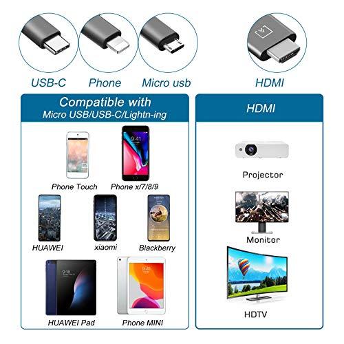 Adaptateur Phone vers HDMI, AMANKA 3 en 1 Type C/Micro USB/Foudre vers HDMI Câble adaptateur de téléphone vers HDTV pour Smartphone Android Xiaomi et Projecteur et Téléviseur