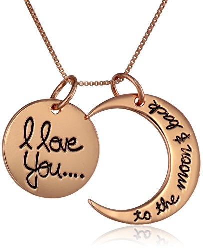 Sterling silver rose gold flashed i love you to the moon for L love jewelry reviews