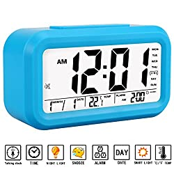 Alarm Clock, Aitey Talking Alarm Clock with Large Digital Display, Optional Weekday Alarm, Snooze, 3 Alarms, 7 Rings and Low Light Sensor Technology (Blue)