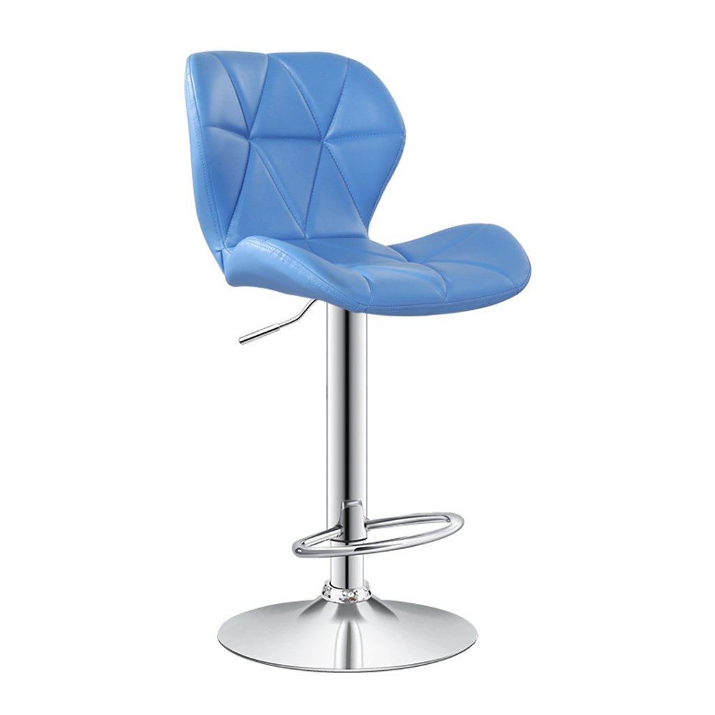バースツール、PUの背もたれのバースツール、回転ハイフィートキッチン朝食座席、高さ(60-80センチメートル)赤 ( Color : Light blue ) B07CMP7GP9 Light Blue Light Blue