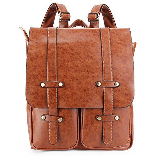 OURBAG Unisex Laptop Backpack Casual Knapsack Purse Satchel Shoulder School Bags Light Brown