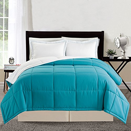 3 piece Luxury TURQUOISE BLUE / WHITE Reversible Goose Down Alternative Comforter set, King / Cal King Duvet Insert (Grand Down Alternative Comforter compare prices)