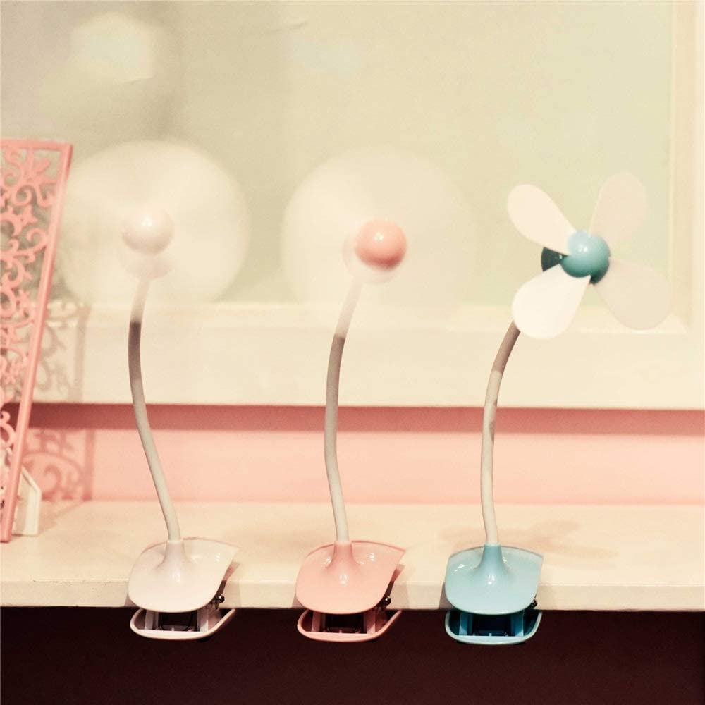 Mini USB Table Desk Personal Fan Summer Touch Mouse Clip Fan USB Portable Bed Small Fan Rechargeable Strong Wind,Quiet Operation,for Home Office. Color : Blue