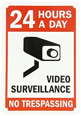 """SmartSign Security Sign, Legend """"24 Hours a Day Video Surveillance"""", Black/Red on White"""