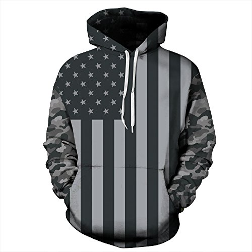 (PIZOFF Unisex 3D Digital USA Flag Hoodie Pullover Long Sleeve Hooded Sweatshirts Pockets AM006-06-L)