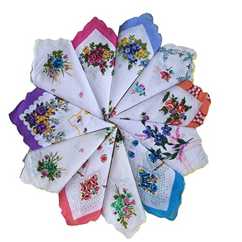 FTSUCQ Womens/Girls Vintage Multi Floral Wedding Party Cotton Handkerchiefs,36pcs (Linen Christening Towel)