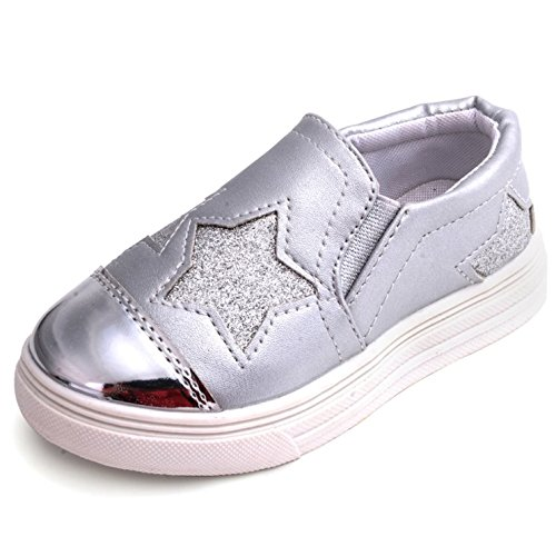 UBELLA Kids Toddler Girl's Glitter Sequins Stars Casual Slip-on Loafers Flats Sneakers Shoes