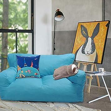 Dporticus Double Mini Lounger Sofa, Bean Bag Chair Self-Rebound Sponge Double Child Seat 51 x 32 x 18 Blue