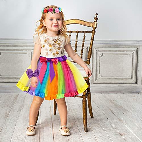 Koogel 2PCS Toddler Tutu Skirts, Rainbow Tutu Skirts 6-Color Toddler Tutus Multicolor Ballet Skirts for Girls Dress Up Game Birthday Party Halloween Costume