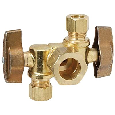 "BrassCraft KTCR1900DVX R 1/2"" Nominal x 3/8"" O.D. x 1/4"" O.D. Dual Outlet Dual Shut-Off Brass 1/4-Turn Angle Ball Valve from Standard Plumbing Supply"