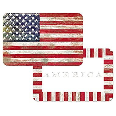 4 American Flag Placemats, Americana, Reversible Washable Plastic