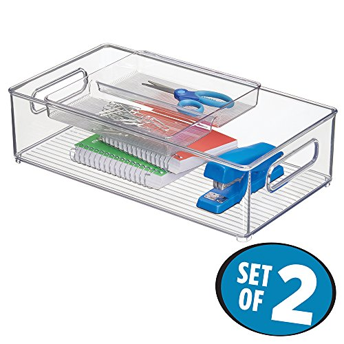 mDesign Office Supplies Desk Organizer Stackable Bin & Tray for Pencils, Pens, Scissors - Set of 2, 8