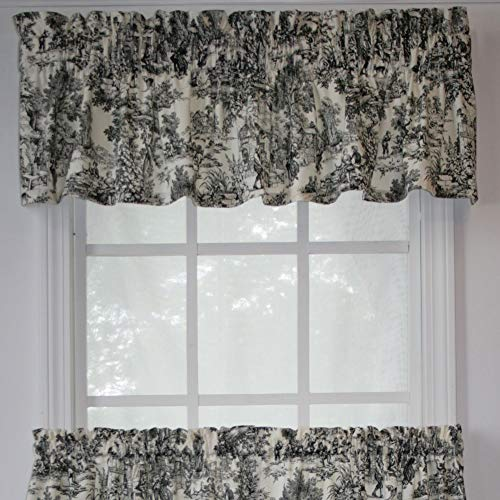 Victoria Park Toile Tailored Valence Window Curtain, Black