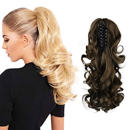 """SEIKEA Claw Clip in Ponytail Extension Long Curly Wavy Pony Tail Hair Extensions For Women 10"""" - Medium Ash Brown"""