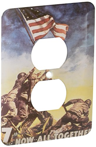 3dRose LLC lsp_149439_6 Vintage 7Th War Loan Now All Together Soldiers Raising American Flag Poster 2 Plug Outlet Cover