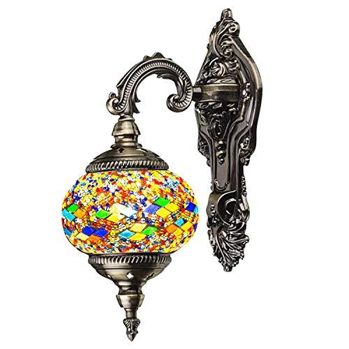 (Mosaic Lamp-Handmade Turkish Mosaic Wall Lamp with Mosaic Lantern, Bronze Base, Unique Wall Light for Room Decoration (Yellow,Green))