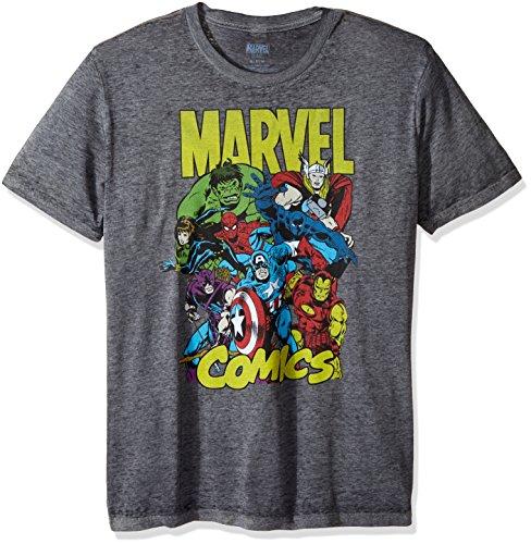 Marvel Men's Spider-Man, Captain America, Hulk Team up T-Shirt, Charcoal Heather Burnout, - Shirt Team T America