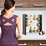 Blümwares Wood Herb and Spice Rack Stand with 12 Clear Glass Jar Bottles - Modern & Stylish Kitchen Organizer that Keeps Your Seasoning Bottles Within Reach (Spices Not Included)