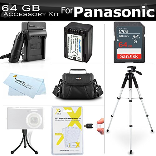 64GB Accessory Kit For Panasonic HC-V180K, HC-WXF991K, HC-W580K, HC-V380K, HC-VX981K HC-V770 Camcorder Includes 64GB High Speed SD Memory Card + Replacement VW-VBT190 Battery + Charger + Case + Tripod
