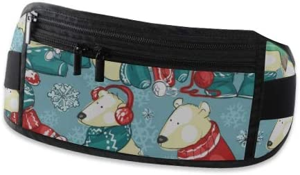 Christmas Polar Bears Running Lumbar Pack For Travel Outdoor Sports Walking Travel Waist Pack,travel Pocket With Adjustable Belt