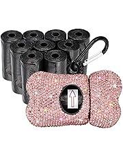 SAVORI Dog Poop Bag Holder Bling Rhinestone Poop Bag Leash Dispenser for Pet Dog Doggy Waste Bags with Metal Carabiner Clip Includes 10 Roll 150 Bags (Pink)