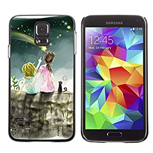 Qstar Arte & diseño plástico duro Fundas Cover Cubre Hard Case Cover para SAMSUNG Galaxy S5 V / i9600 / SM-G900F / SM-G900M / SM-G900A / SM-G900T / SM-G900W8 ( Meteor Shower Art Night Sky Sisters Star)