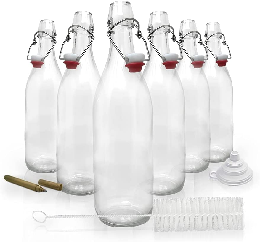 Mockins Set of 6 | 33 oz Round Swing Top Glass Bottles with Airtight Stopper | Home Brewing Bottles for Kombucha, Beer, Water Kefir, Limoncello | Includes Bottle Brush, Funnel & Gold Glass Marker