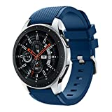 Polwer Replacement Bands Compatible for Samsung Galaxy Watch 46mm, Fashion Soft Silicone Watch Band Smartwatch Strap Wristband Accessories for Women and Men (Navy)