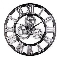 Asvert Industrial Gear Wall Clock Vintage 3D Wooden Handmade Numerals Decor Living Room Office Bar (Silver)