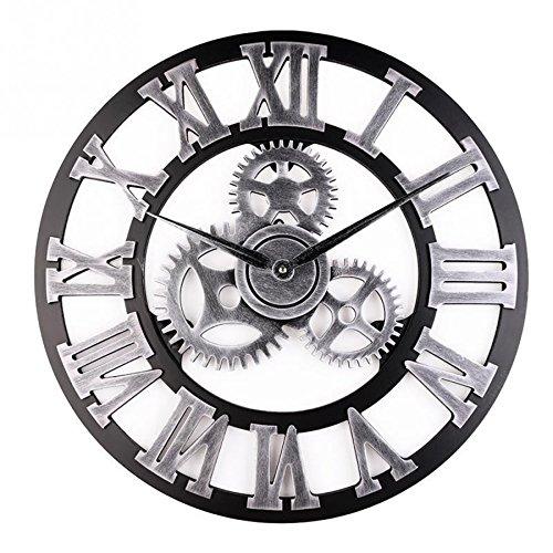 Asvert Industrial Gear Wall Clock Vintage 3D Wooden Handmade Numerals Decor Living Room Office Bar (Silver) (Clock Visible Gears With)