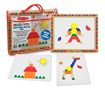 Melissa & Doug Deluxe Wooden Magnetic Pattern Blocks Set - Educational Toy With 120 Magnets and Carrying Case
