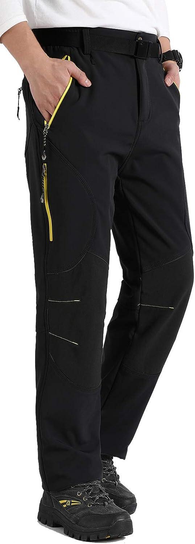 Singbring Mens Outdoor Fleece Lined Windproof Hiking Pants Waterproof Ski Pants