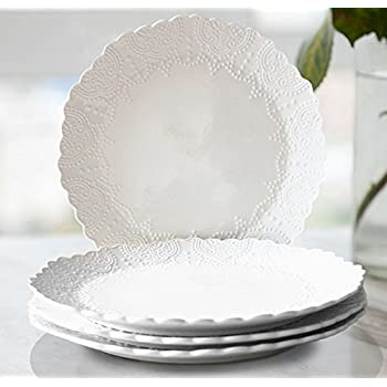 Dinner Plates 10.5 Inch Accent Plates Set 4 Scalloped Embossed Bone China White Porcelain  sc 1 st  Amazon.com & Amazon.com | Sweese 1201 Porcelain Dinner Plates - 10 inches for ...