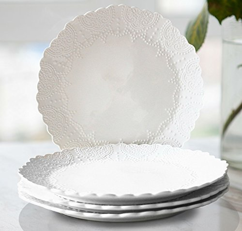 Dinner Plates 10.5 Inch Accent Serving Plates Set 4, Scalloped Embossed Porcelain Bone China, White